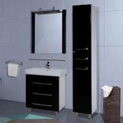 Мебель для ванной Bellezza Рокко 80 черная напольная 3 ящика