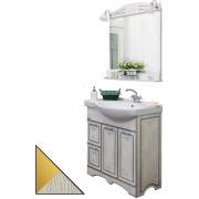 Sanflor Мебель для ванной Адель 82 L белая, патина золото