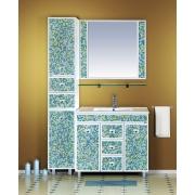 Misty Мебель для ванной Жемчужина 90 бело-голубая мозаика