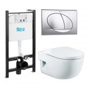 Инсталляция Roca Active WC ПЭК (893104110) в комплекте с унитазом Roca Meridian Compact микролифт